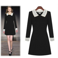 2013 Autumn High-end European American Women's Noble Ladies Lace Long Sleeve Dress Female Slim Lapel Black Dress