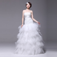 2013 vintage tube top fish tail wedding dress 9062