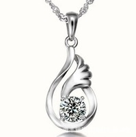 Promotional 2013 new Hot Lucky Angel White CZ Diamond Necklace Fashion Crystal Jewelry Free Shipping