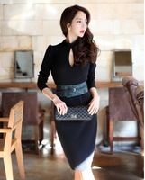 Free Shipping Elegant Round Neck Backless Long Sleeves Dress Black