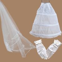 Love gloves bridal veil panniers wedding accessories formal dress triangle set