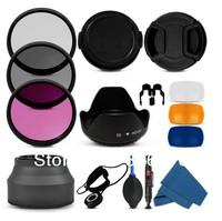 100% Professional 58MM Filter CPL+UV Set + Lens Hood + Cap + Cleaning Kit for Canon Rebel T4i T3i T3 T2i T1i XT XS XSi 18-55mm