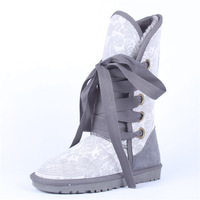 new 2013 5818 gaotong snow boots grey phoeni print boots genuine leather strap women's shoes cow muscle shoes outsole