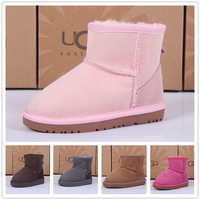 new 2013 Fur one piece 5854 low snow boots short cow muscle shoes slip-resistant outsole thermal child cotton-padded shoes
