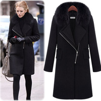 2013 winter fashion elegant fox fur luxury thermal woolen overcoat trench