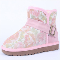 new 2013 5855 rose short boots snow boots genuine leather boots side buckle