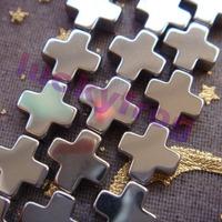 new!!! hot sale AAA 10x4mm Silver Hematite Cross Loose Beads 38pcs/lot Free Shipping