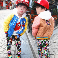 Hot-selling 2013 new children's clothing child baseball Labeling clip cotton velvet jacket  kids casual outerwear 6 sets/lot