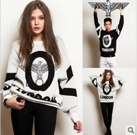 Drop shipping New  2013 Boy London Punk Eagle Print Autumn/Winter Lovers Sweatshirt Hoodies Hip Hop Loose Hoody black&white