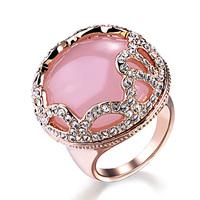 Honorable pink crystal rose quartz peach blossom luxury ring gift female ka208