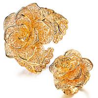 Accessories luxury flower ring gorgeous cutout bangles female set tz55