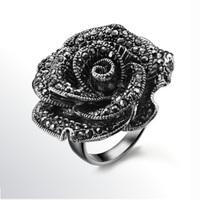Accessories fashion exaggerated ring black rose finger ring zirconium diamond female ka265