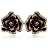 Luxury rose gold rose black flower stud earring zirconium diamond earrings female kr75