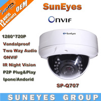 SunEyes ONVIF 1280/*720P HD Megapixel Vandalproof Dome IP Camera  IRCUT P2P Plug and Play SP-Q707