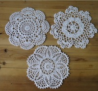 Wholesale 24Piece Handmade Crochet pattern 3 designs doily cup Pad mats table cloth coasters round Dial 20cm Custom Colors