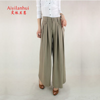 Summer elegant wide leg pants culottes women's mid waist trousers casual trousers plus size clothing d-279