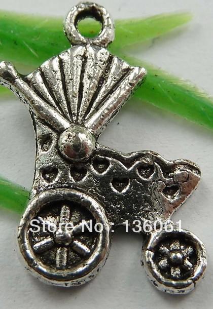 Wholesale Fashion Vintage Silvers Beautiful pram Charms Pendant DIY Jewelry Findings Free Shipping 100pcs 20*12mm Z1259(China (Mainland))