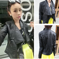 2013 new hot sale Autumn winter fashion large lapel slim zipper motorcycle leather jacket clothing