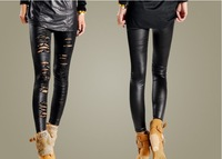 Free Shipping New Arrival Sexy Lady Black Stretchy Faux Leather Lace Flower hole Nick hollow out nine points leggings