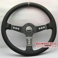 HOT !14 inches Sparco Leather Steering Wheel, racing car steering wheel Aluminum alloy, EK1695