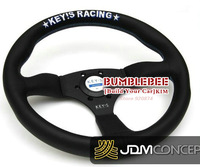 HOT !14 inches  Leather Steering Wheel for KEY!S RACING, racing car steering wheel Aluminum alloy, EK1696