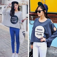 Circle design short loose letter print strapless long-sleeve sweatshirt