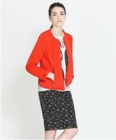 New Arrival 2013 autumn trendy cotton za jackets women's zip up blazers black/orange color High Street women parkas