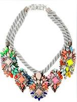 Multi-layer shourouk colorful crystal gem color block decoration shell-lac necklace