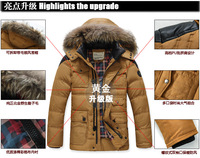 2013 new Winter Fashion Male regular Down Coat Luxury White DUCK feather Raccoon Fur Collar Warm Waterproof Overcoat For Men