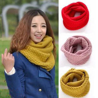 Autumn and winter female cutout twisted yarn knitted thermal thickening muffler scarf pullover design long scarf