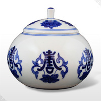 Best ceramic Porcelain blue and white antique porcelain tea set tea caddy storage tank sucrier Chinese ceramic free shipping