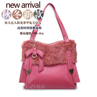 Bags NEW 2013 luxury rabbit fur bag bow genuine leather women's one shoulder handbag
