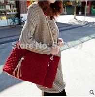 NB039 - Vintage Plaid Plush Women's Tassel Handbag Bag Shoulder Bag Messenger Bag Female Bags