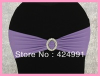100pcs Lavender  Lycra Chair Bands&Sash with Oval buckle ,Double Layer Lycra Bands&Sash for Weddings Events Decoration