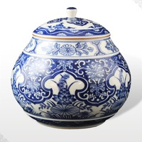 Best Chinese ceramic Porcelain blue and white auspicious tea caddy tank free shipping
