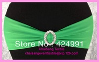 100pcs Green Lycra Chair Bands&Sash with Oval buckle ,Double Layer Lycra Bands&Sash for Weddings Events Decoration
