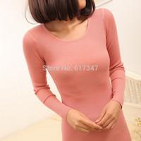 2014 autumn women's medium-long o-neck pullover sweater basic shirt sweater female