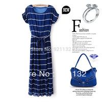 Free Shipping Hot Sale Bohemian Style Round Neck Short Sleeve Striped Pleated Chiffon Long Maxi Dress Black/White/Blue