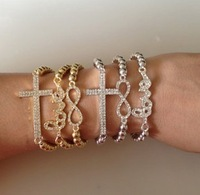 2013 New HOT World Pop One Direction 8 Word Bead Cross Love Bracelet Crystal For Woman Gift beauty & health