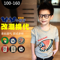 Free Shipping Autumn 2013 children's autumn clothing cartoon baby big boy male child long-sleeve T-shirt z0510 basic shirt