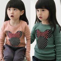 Autumn children's clothing 2013 female child autumn cartoon 100% cotton child baby long-sleeve T-shirt 4811 basic shirt