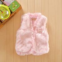 free shipping retail  autumn winter fashion Faux Fur vest children girls outwear Waistcoat Fashion