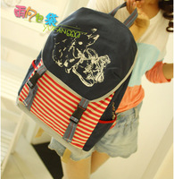 Bag 2013 stripe backpack casual bs216 preppy style