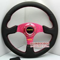 HOT !14 inches MOMO Leather Steering Wheel, racing car steering wheel Aluminum alloy, red, EK1705