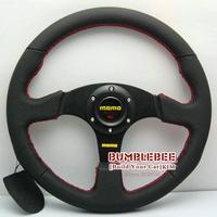HOT !14 inches MOMO Leather Steering Wheel, racing car steering wheel Aluminum alloy,Black, EK1704
