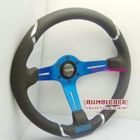 HOT !14 inches MOMO Leather Steering Wheel, racing car steering wheel Aluminum alloy, blue , EK1709