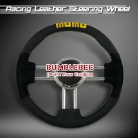 HOT !14 inches MOMO Leather Steering Wheel, racing car steering wheel Aluminum alloy, EK1663
