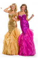 2013 New Arrival Sweetheart Ruffles Crystal Sequins Gold Fushcia Mermaid Evening Party Long Dress Formal Prom Gowns Ball 6013