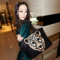 2013 women's handbag spring handbag fashion paillette shoulder bag fashion bag leopard print tiger head women's handbag
