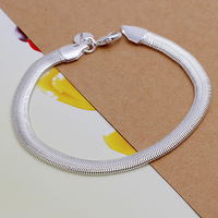 "Free Shipping Stamp  ""925"" pendant Wholesale 925 sterling silver bracelet, 925 silver fashion jewelry Flat Snake Bone Bracelet"